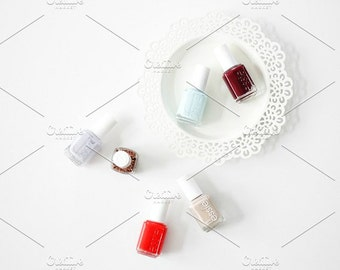Styled Stock Photo | Nail Polishes Flatlay | Blog stock photo, stock image, stock photography, blog photography