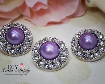 5 Pcs Rhinestone Pearl Buttons Plastic Acrylic Purple Pearl Buttons Embellishments Clear Rhinestone Flower Centers DIY Weddings  25mm 554035