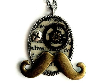 Steampunk Monoply Necklace Uncle Pennybags gears Handmade Gift