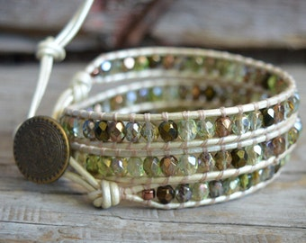 Beaded Wrap Bracelet, Earthy Wrap Bracelet, Boho Style Wrap, 3x Leather Beaded Bracelet, Bohemian Wrap Bracelet, Leather Wrap Bracelet