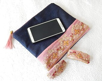 Pink beaded embroidered denim purse, flat zipper pouch holds cosmetics jewelry small items
