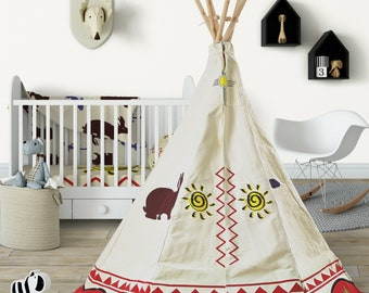 Large Wigwam for Kids, Cotton Canvas Childrens Teepee, Play Tent, Tipi, Cowboys and Indians Teepee, Indoor Tent, Outdoor Indoor Teepee