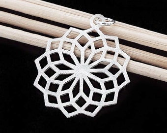 1 of 925 Sterling Silver Filigree Flower Pendant 24 mm. Brush Finished  :th2447