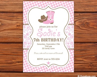 Cowgirl Birthday Invitation - Cowgirl Party Invite - Pink Brown Paisley Cowgirl Printable Invitation - EDITABLE - INSTANT DOWNLOAD