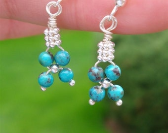 BLUE LAGOON Flower Weave Earrings - myBouquet Beaded Floral Design  - Genuine Turquoise & Aragonite in Sterling Silver - Handmade by Dorana