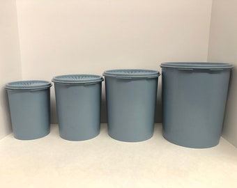 Vintage Tupperware Country Blue Servalier Storage Canisters set of 4