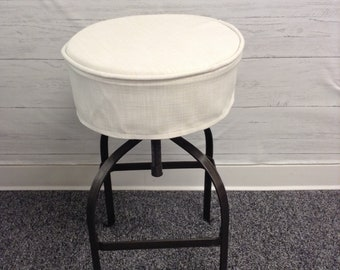 Round Skirted Barstool Seat Cover With Piping And Skirt In Washable Signature Linen Off White