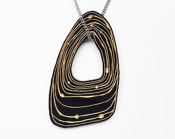 ORBIT - Necklace, lasercut jewellery black and gold painted acrylic shape jewelry hand drawn design laser cut