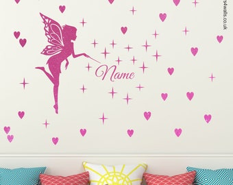 Personalised Fairy Wall Sticker, glitter fairy wall sticker, Fairy Wall Decal, fairy wall sticker for girl bedroom, pixie dust wall sticker