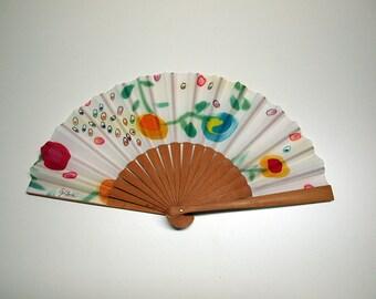 Handpainted Silk hand fan-Wedding hand fan- Abanico- Fan with flowers- Giveaways- Bridesmaids- Spanish hand fan-14x7.5inches (35 cmx19 cm)