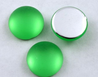 11mm Round Frosted Lime Cabochon (2 Pcs) #UP746