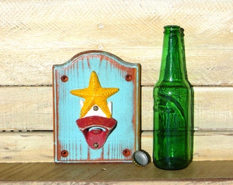 Starfish Bottle Opener, Nautical Decor Beach Inspired Cast Iron Wall Mounted Bottle Opener Handmade Distressed