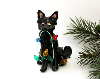 Black Cat Angora PORCELAIN Christmas Ornament Figurine Lights