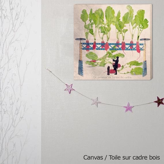 canvas art, photography canvas, canvas print, kitchen decor, radish, Vegetable, gardening, kitchen art print, kitchen wall decor