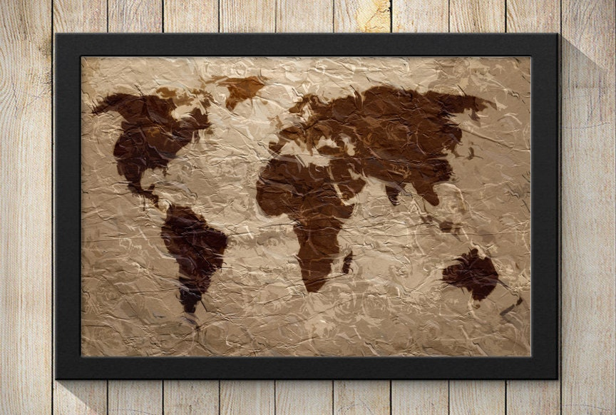 Rustic tapestry world map art print wall poster giclee zoom gumiabroncs Image collections