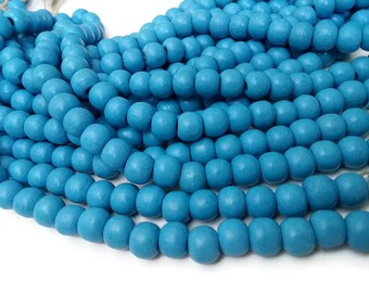 Soft blue wood round beads - Baby blue Wooden Dyed Beads 10x9mm - 30pcs