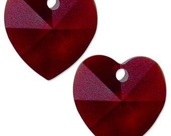 Set of 4-14mm Swarovski Garnet Crystal Heart- January Birthstone