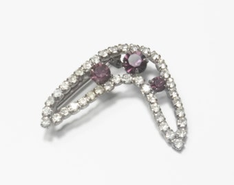 Vintage 1950's Purple Rhinestone Boomerang Brooch Costume Jewelry Gift For Her on Etsy