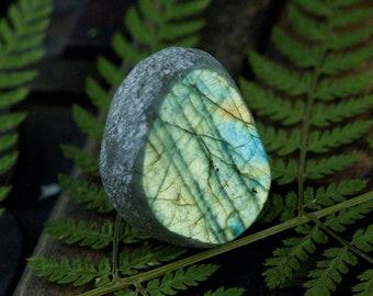 Labradorite, Dragon Egg, Seer Stone, green labradorite, palm stone, touchstone