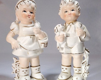 Vintage Northern Imports Boy And Girl Ceramic Statues Japan