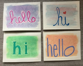 Watercolor Hello Cards