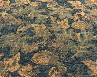Traditional Gunnison Floral Blue Teal Chenille upholstery Fabric by the yard
