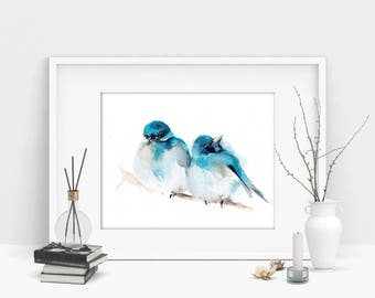 Couple of birds fine art print, two birds watercolor painting print, pair of birds on a branch, Bird Wall Art Print