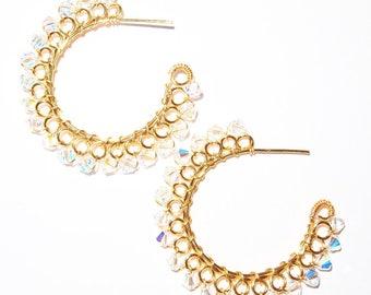 Large Swarovski Crystal Gold or Silver Hoop Earrings