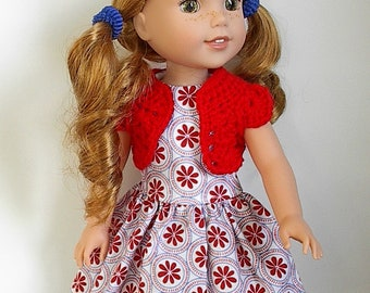 "14.5"" Doll Clothes Sleeveless Cotton Dress and Crocheted Bolero Shrug Handmade to fit Wellie Wishers Dolls - White with Red and Blue Flowers"