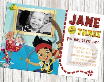 Jake And The Neverland Pirates Birthday Invitation - Custom with Photo
