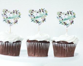 Heart Monogram Cupcake Toppers, Bridal Shower Cupcake Toppers, Monogram Cupcake Toppers