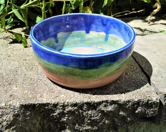 Blue, pink and green bowl