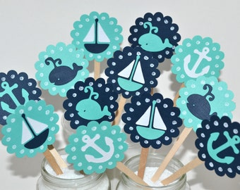 12 Nautical Cupcake Toppers / Nautical Baby Shower / Whale Birthday Toppers / Ahoy Its A Boy