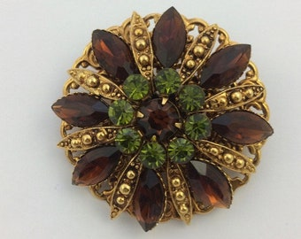 Vintage Layered Gold Tone Metal Topaz Brown & Olive Green Rhinestone Pin