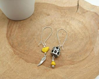 Fimo creapam yellow bird cage Earrings