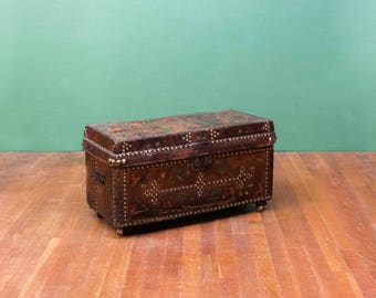 Brass Studded Painted Leather Box