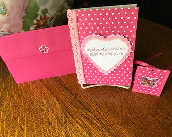 WEDDING CARD, pinks, white, Bride, Groom, Best Friend, Sister, Brother, hearts, lace, , Mom, Dad, anyone