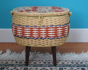 Mid Century Modern Tapered Legs Wicker Sewing stand box.