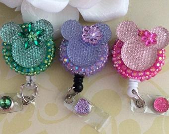 Pink/Green/Lavender Rhinestone Flower Mouse Ears Retractable ID Badge Reel, Nurse Badge Reel