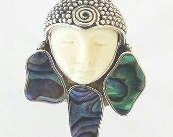US Size 7.5 Carved Goddess Face Abalone Paua Ring 925 Sterling Silver Bali Jewelry With Soul, For Gift E1388
