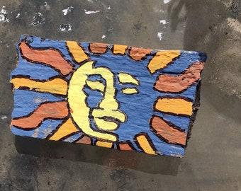 Magnet, wood painted sun magnet, hippie, boho
