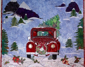 PAPER PATTERN for a COLLAGE style Red Truck Winter Scene Home For Christmas Wall Quilt