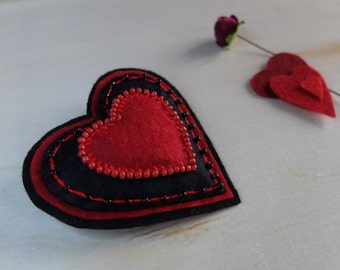 Valentine heart, Embroidery Initials, Red Black heart, Felt brooch,Beads Embroidered Heart, Goth Jewelry,Gift for fiance,Valentines day gift
