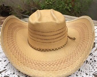 Bailey's U-Rollit, Bar-B-Q straw cowboy hat 1950's 1960's NOS Deadstock
