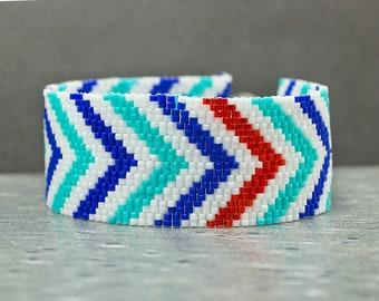 Beaded Bracelet, Geometric Jewelry, Seed Bead Bracelet, Cuff Bracelet, Peyote Bracelet, Blue Jewelry