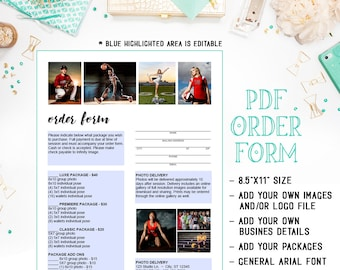 PDF - Dance - Sports - School - Pre-school - Daycare Photography Sales Order Form Template - Fillable Adobe Acrobat Form - INF105BPDF