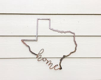Texas Metal Sign - State Wall Art - State Home Sign