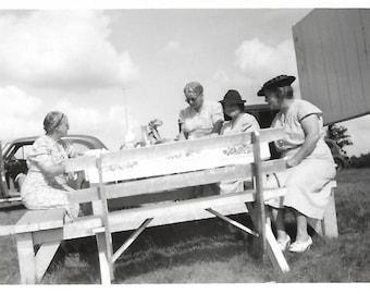 "Vintage Snapshot ""Hold Onto Your Plate"" Tilted Camera Angle Grandmothers Having Roadside Picnic Found Vernacular Photo"