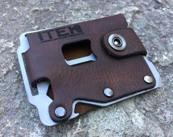 ITEK Kodiak Minimalist wallet(Bearskin-Stainless). Father's Day Gift. Men's leather wallet Sale.