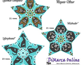 3D PEYOTE STAR Beading Pattern/Tutorial DOGS All Stars + Basic Instructions